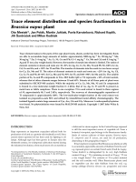 Trace element distribution and species fractionation in Brassica napus plant.