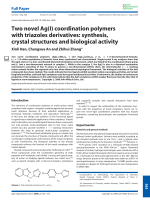 Two novel Ag(I) coordination polymers with triazoles derivatives  synthesis  crystal structures and biological activity.