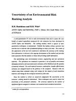Uncertainty of an Environmental Risk Ranking Analysis.