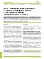 Use of carboxylated polyethylene glycol as promoter for platinum-catalyzed hydrosilylation of alkenes.