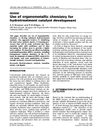 Use of organometallic chemistry for hydrotreatment catalyst development.
