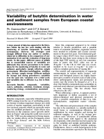 Variability of butyltin determination in water and sediment samples from european coastal environments.
