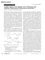 Variable Synthesis of the Optically Active Thiotetronic Acid Antibiotics Thiolactomycin  Thiotetromycin  and 834-B1.