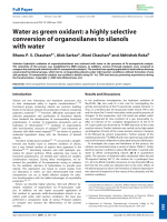 Water as green oxidant  a highly selective conversion of organosilanes to silanols with water.
