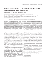 Do human parents face a quantity-quality tradeoff  Evidence from a Shuar community.