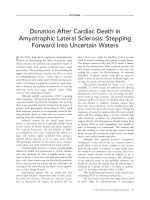 Donation after cardiac death in amyotrophic lateral sclerosis  Stepping forward into uncertain waters.
