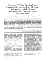 Dopamine D2-type agonists protect mesencephalic neurons from glutamate neurotoxicity  Mechanisms of neuroprotective treatment against oxidative stress.