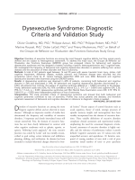 Dysexecutive syndrome  Diagnostic criteria and validation study.