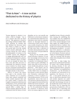 Editorial  УThen & NowФ Ц A new section dedicated to the history of physics.
