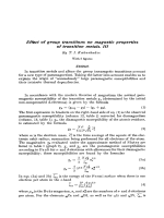 Effect of group transitions on magnetic properties of transition metals. III