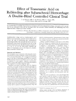 Effect of tranexamic acid on rebleeding after subarachnoid hemorrhage  A double-blind controlled clinical trial.