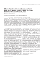 Effect of undernutrition on deciduous tooth emergence among Rajput children of Shimla District of Himachal Pradesh  India.