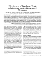 Effectiveness of botulinum toxin administered to abolish acquired nystagmus.
