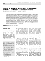 Effects of spouses on distress experienced by BRCA1 mutation carriers over time.