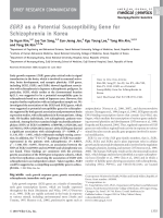 EGR3 as a potential susceptibility gene for schizophrenia in Korea.