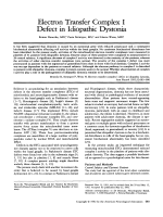 Electron transfer complex I defect in idiopathic dystonia.