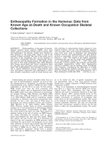Enthesopathy formation in the humerus  Data from known age-at-death and known occupation skeletal collections.