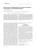 Environment and morphology in Australian Aborigines  A re-analysis of the Birdsell database.