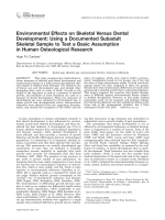 Environmental effects on skeletal versus dental development  Using a documented subadult skeletal sample to test a basic assumption in human osteological research.