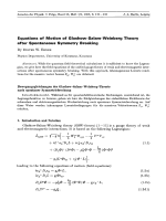 Equations of Motion of Glashow-Salam-Weinberg Theory after Spontaneous Symmetry Breaking.