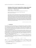 Estimation of the Greatest Common Divisor of many polynomials using hybrid computations performed by the ERES method.