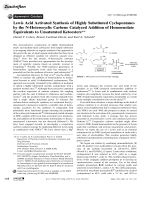 Lewis Acid Activated Synthesis of Highly Substituted Cyclopentanes by the N-Heterocyclic Carbene Catalyzed Addition of Homoenolate Equivalents to Unsaturated Ketoesters.