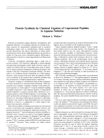Protein Synthesis by Chemical Ligation of Unprotected Peptides in Aqueous Solution.