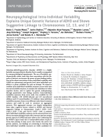Neuropsychological intra-individual variability explains unique genetic variance of ADHD and shows suggestive linkage to chromosomes 12  13  and 17.