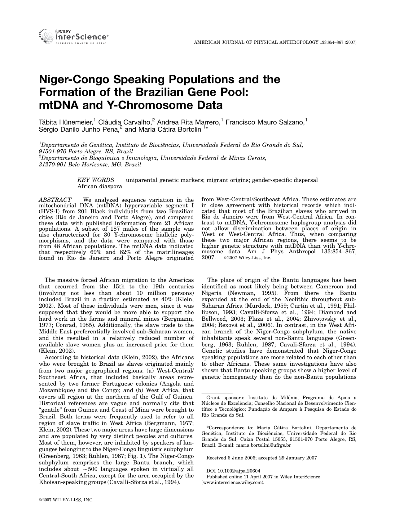 Niger-Congo speaking populations and the formation of the Brazilian
