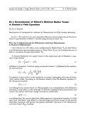 On a Generalization of Hilbert's Metrical Matter Tensor in Einstein's Field Equations.