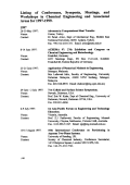 Listing of Conferences  Symposia  Meetings  and Workshops in Chemical Engineering and Associated Areas for 1997Ц1999.
