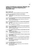 Listing of Conferences  Symposia  Meetings  and Workshops in Chemical Engineering and Associated Areas.