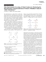 Mass Spectrometric Screening of Chiral Catalysts by Monitoring the Back Reaction of Quasienantiomeric Products  Palladium-Catalyzed Allylic Substitution.