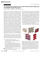 Zeotype OrganicЦInorganic Ionic Crystals  Facile Cation Exchange and Controllable Sorption Properties.