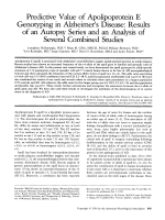 Predictive value of apolipoprotein E genotyping in Alzheimer's disease  Results of an autopsy series and an analysis of several combined studies.