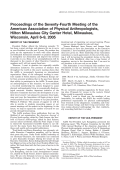 Proceedings of the seventy-fourth meeting of the American association of physical anthropologists  Hilton Milwaukee city center hotel  Milwaukee  Wisconsin  April 6Ц9  2005.