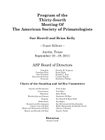 Program of the Thirty-Fourth Meeting of The American Society of Primatologists.