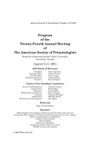 Program of the Twenty-Fourth Annual Meeting of The American Society of Primatologists.