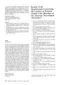 Results of the questionnaire concerning the conduct of personal health of the members of the american neurological association.