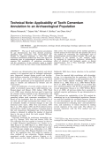 Technical note  Applicability of tooth cementum annulation to an archaeological population.