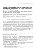 Unequal contributions of male and female gene pools from parental populations in the African descendants of the city of Melo  Uruguay.