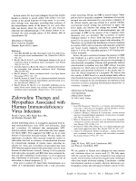 Zidovudine therapy and myopathies associated with human immunodeficiency virus infection.