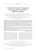Visinin-like protein-1  Diagnostic and prognostic biomarker in Alzheimer disease.