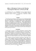 Effects of mechanical action on the electron paramagnetic resonance of wool and silk.