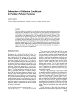 Estimation of diffusion coefficient for soluteЦpolymer systems.