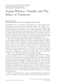 Seeing Witness  Visuality and The Ethics of Testimony By Jane Blocker Minneapolis  MN  University of Minnesota Press  2009.