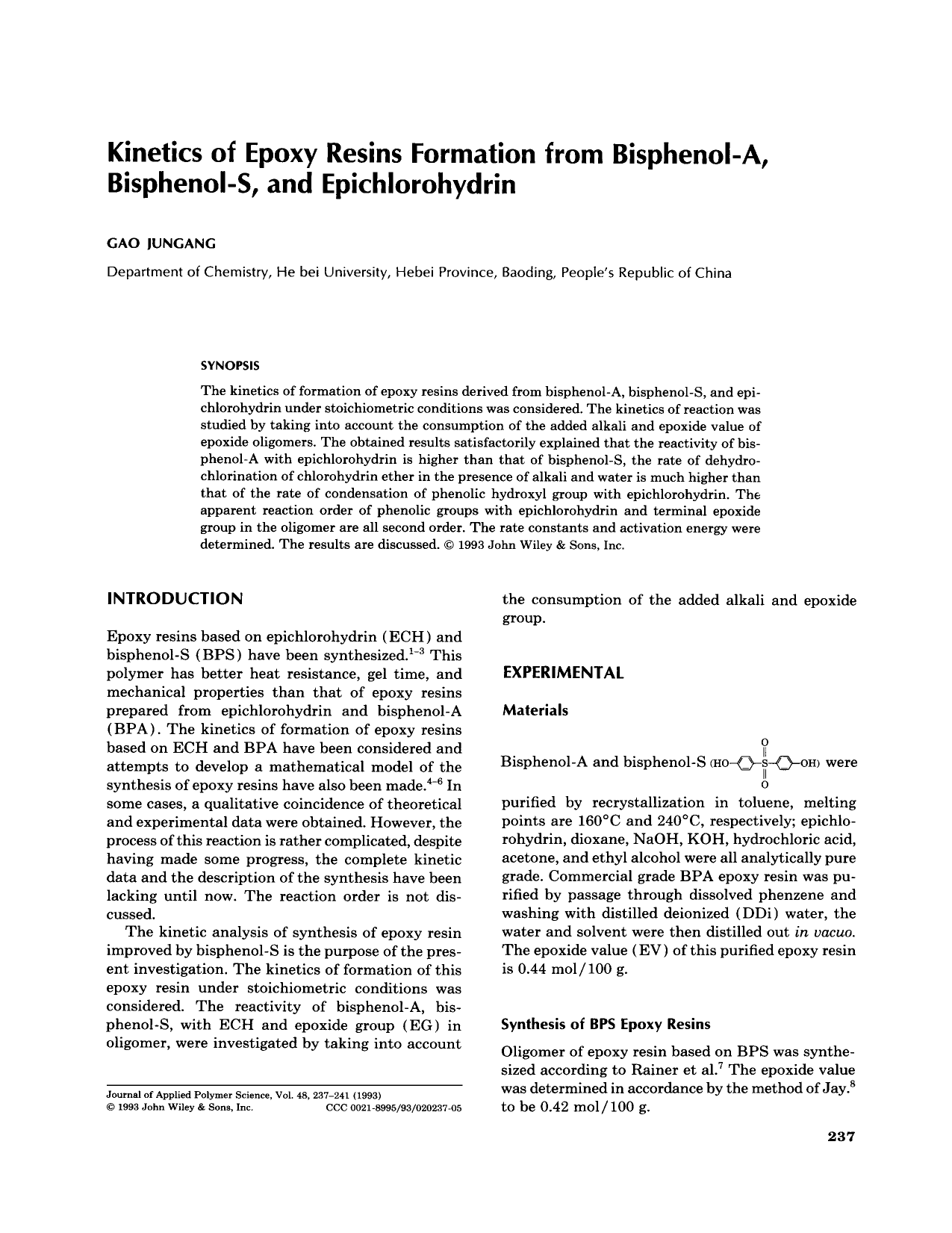 Kinetics of epoxy resins formation from bisphenol-A