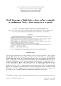 Onthe limnology of Salda Lake  a large and deep soda lake in southwestern Turkey  future management proposals.
