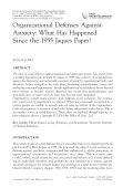 Organizational defenses against anxiety  what has happened since the 1955 Jaques paper.