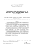 Physical and chemical water requirements of the white-clawed crayfish (Austropotamobius pallipes) in western France.